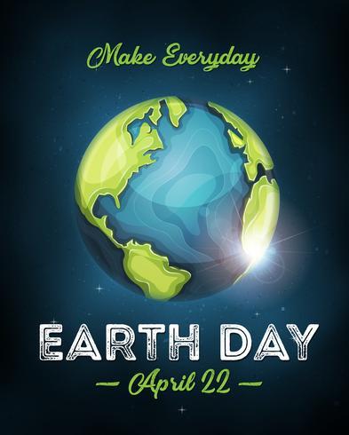 Cartel de celebración del Día de la Tierra vector