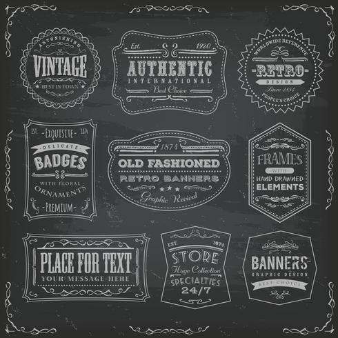 Vintage Labels Ans Signs On Blackboard