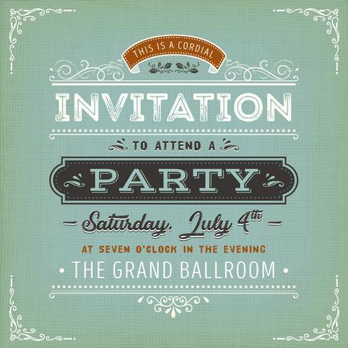 Invitation vintage à une carte de fête