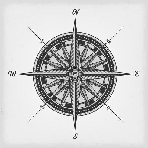 Compass Rose Black And White vector