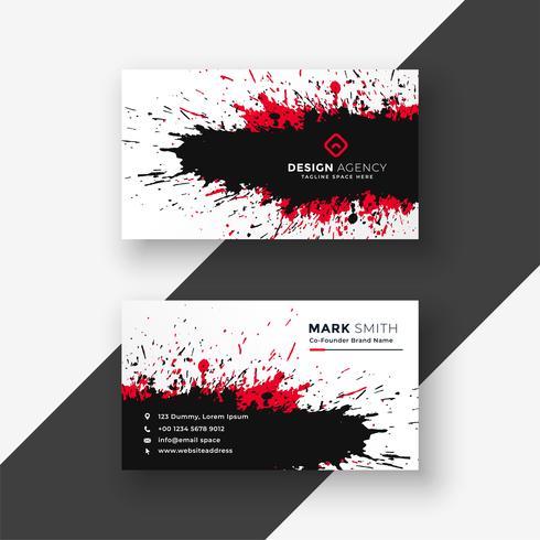 design de cartão preto abstrato respingo tinta vermelha