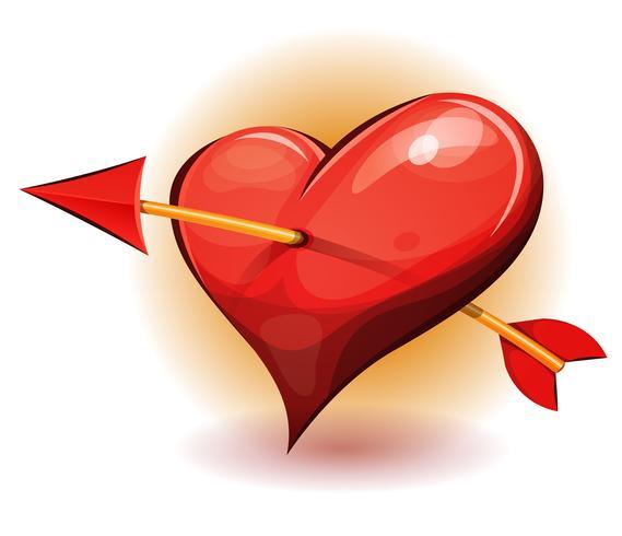 Icona cuore rosso trafitto dalla freccia vettore