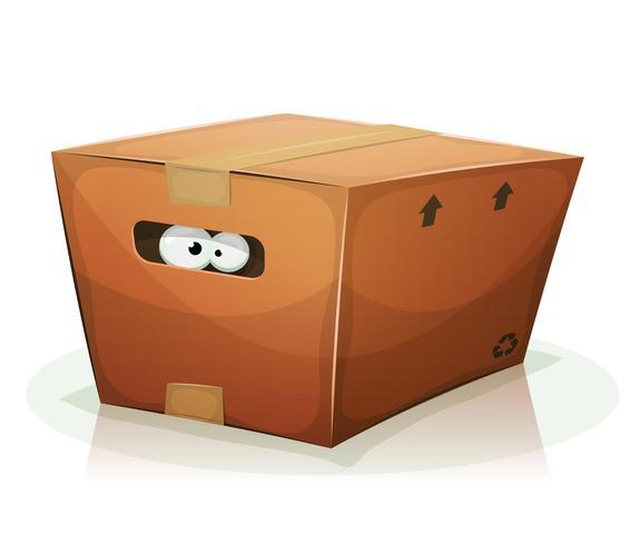 Olhos dentro da caixa de papelão