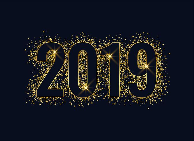 2019 shiny glitter golden new year background