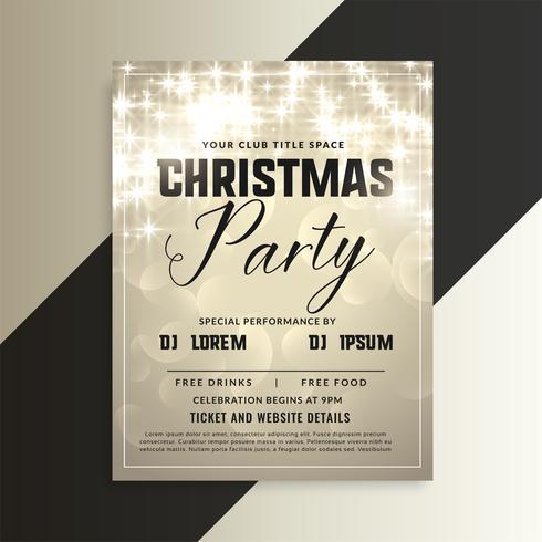 flyer d'invitation de fête de Noël brillant avec des étincelles