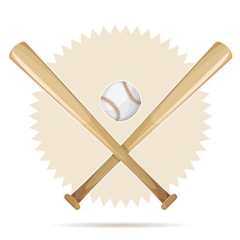 Retro bandiera di baseball con i pipistrelli e la palla vettore
