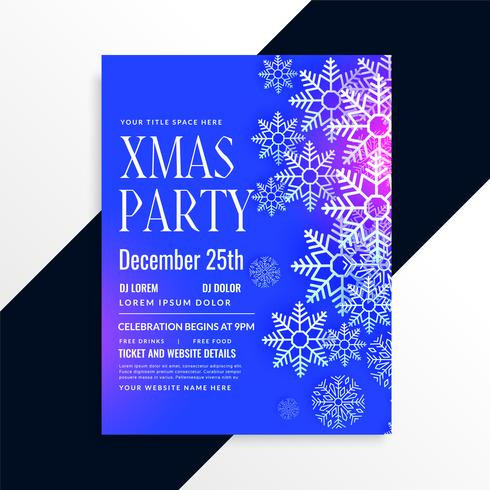 diseño de flyer fiesta de Navidad de copos de nieve azul impresionante
