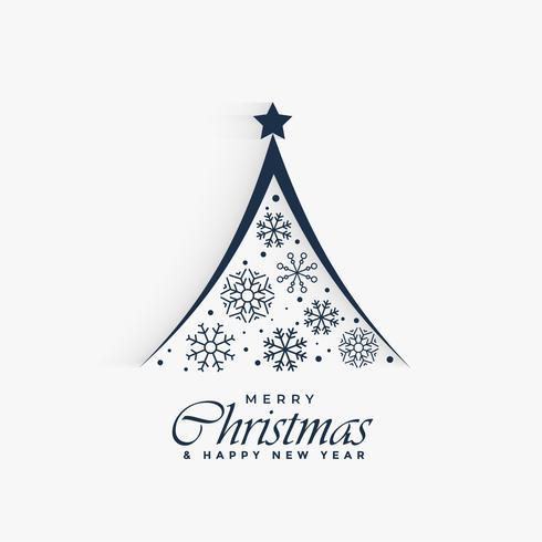 Árbol de navidad decorativo hecho con copos de nieve de fondo.