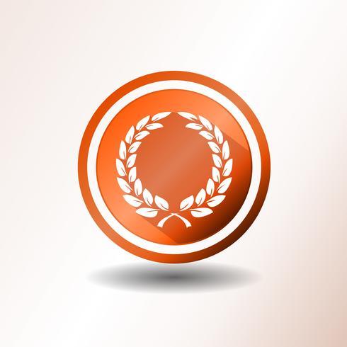 Premio Laurel Corona Icono En Diseño Plano
