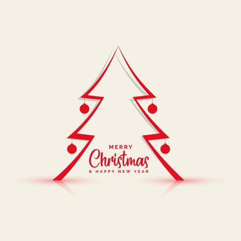 sfondo di albero di Natale linea stile papercut