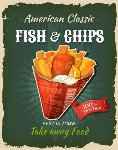 Cartaz retro do peixe com batatas fritas do fast food pôster