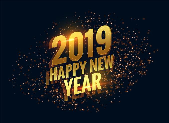 awesome 2019 happy new year sparkles golden background