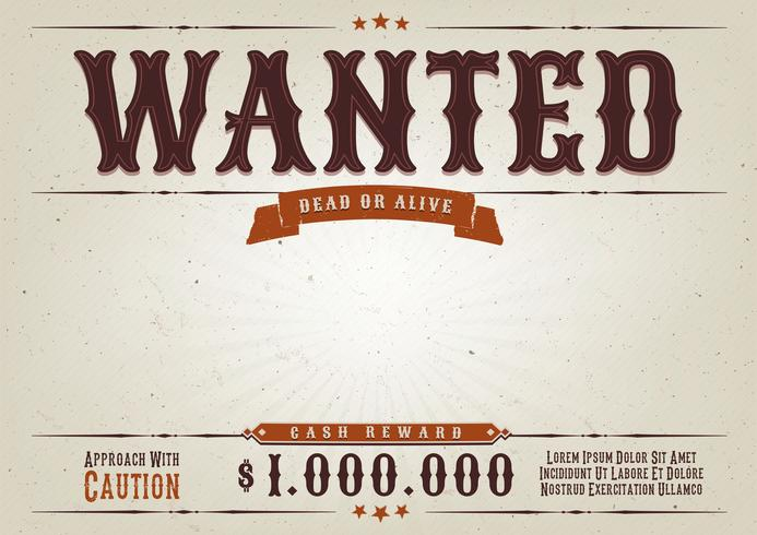 Wanted Poster di film western vettore