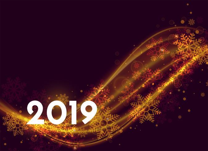 beau design d'affiche pour le nouvel an 2019 avec effet de lumière