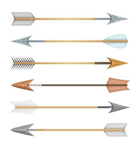Frecce di legno, metallo e pietra per arco vettore