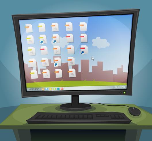 Computadora de escritorio con sistema operativo en pantalla vector