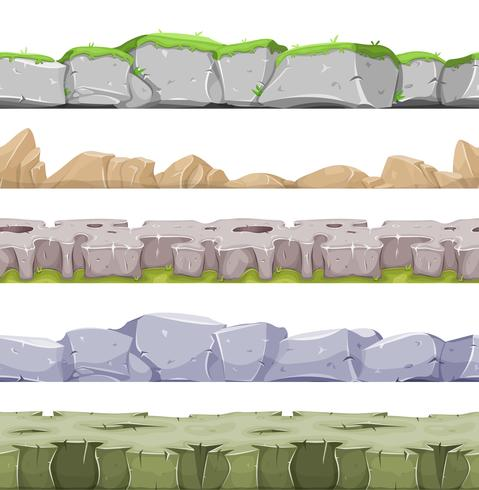 Seamless Rocky Landscape And Stony Grounds For Game Ui vector
