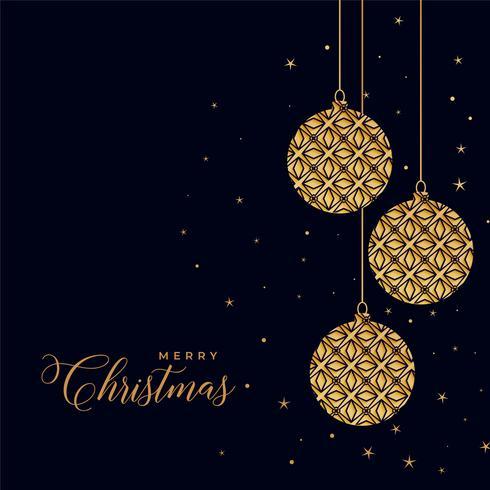 Hermosas bolas decorativas de Navidad doradas sobre fondo negro