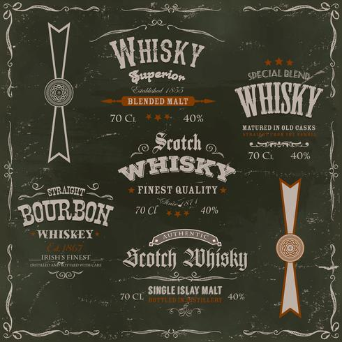 Whisky Labels And Seals On Chalkboard Background vector