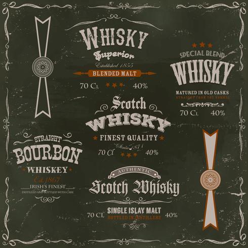 Étiquettes de whisky et des phoques sur fond de tableau