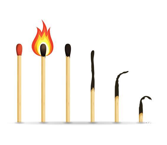 Brandende, verlichte en verbrande wedstrijden