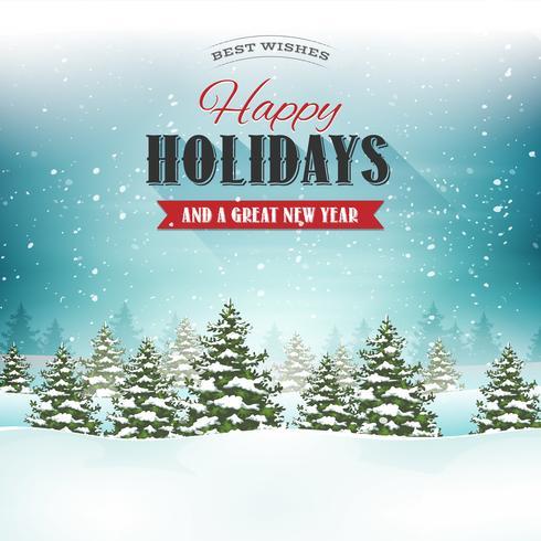Postal del paisaje de la Feliz Navidad vector