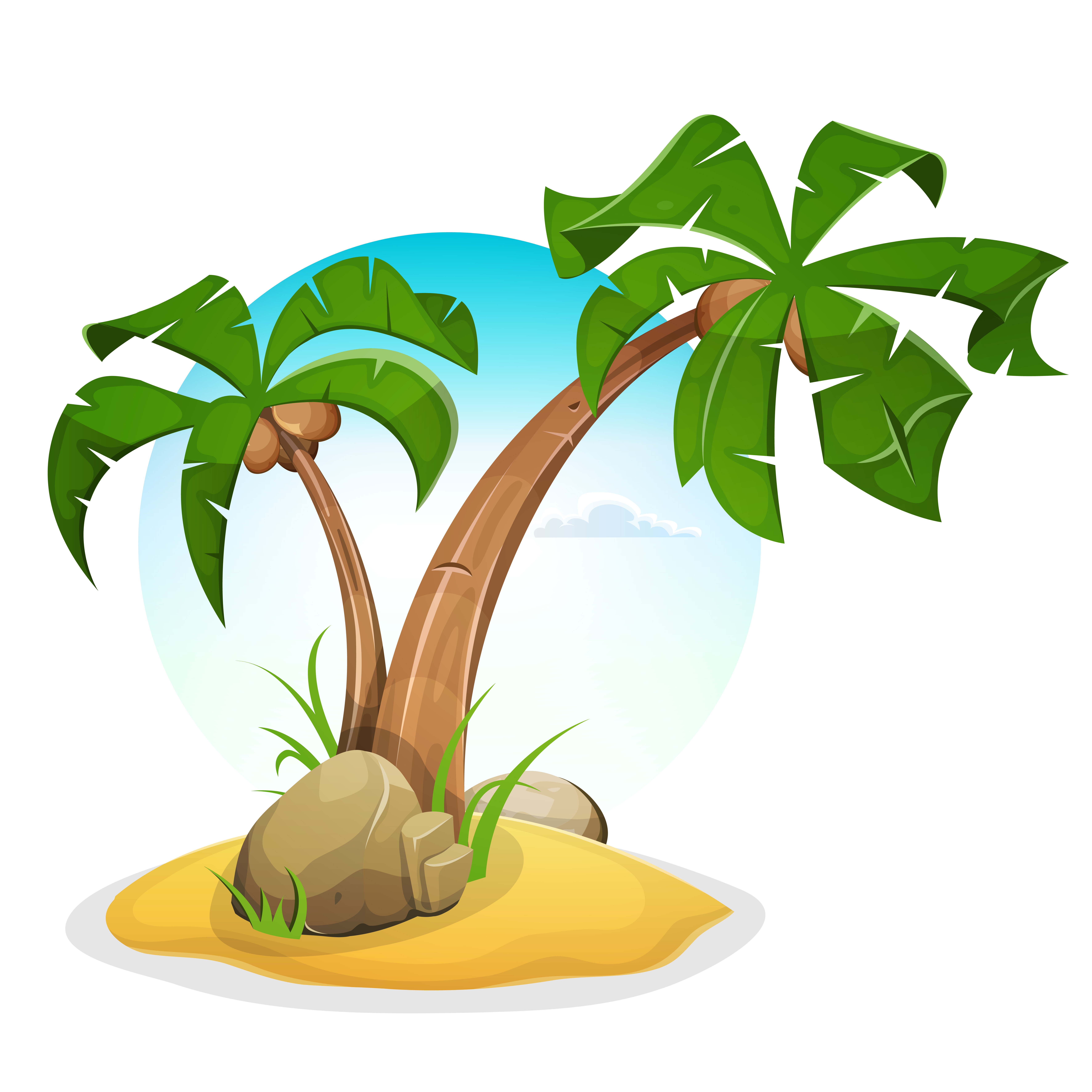 Tropical Island With Palm Trees - Download Free Vectors ...