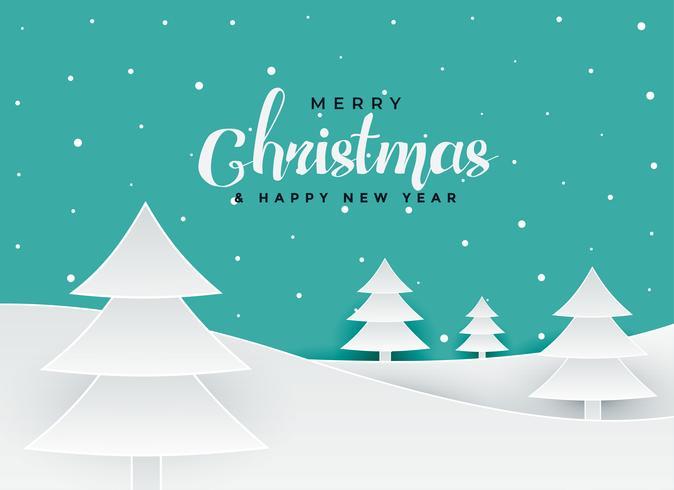 glatt jul pappersark stil träd landskap bakgrund
