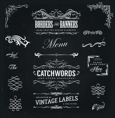 Marcos caligráficos y pancartas en pizarra vector