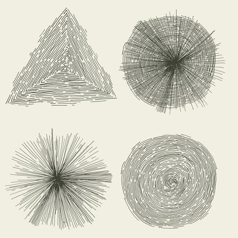 Mão abstrata desenhados círculos, espirra e formas