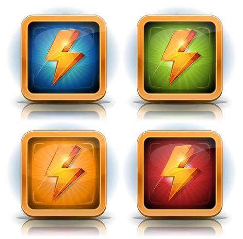 Iconos de escudo con rayos para juego de interfaz de usuario vector
