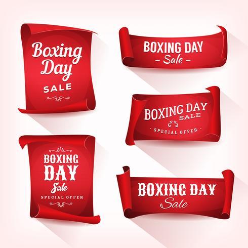 Conjunto de pergaminho de venda de dia de boxe e Banners