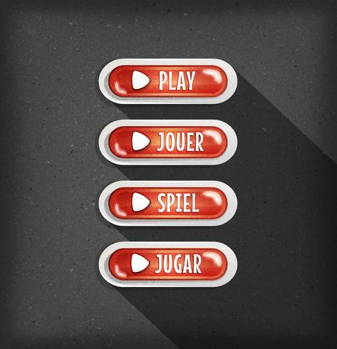 Play Buttons Design In Multiple Languages For Game Ui vector