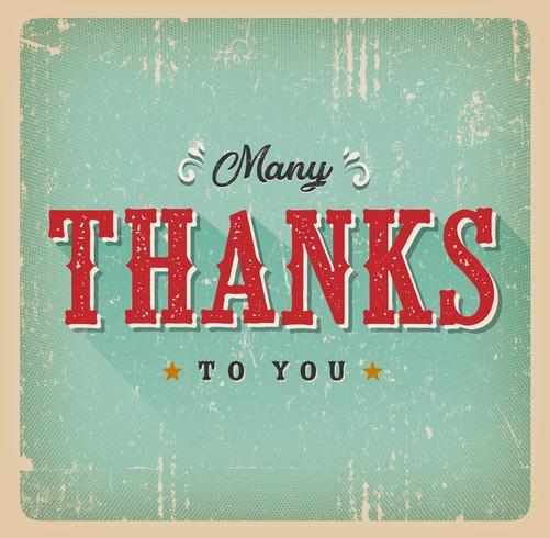 Muitos obrigados a você cartão retro