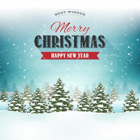 Frohe Weihnachten Landschaft Postkarte vektor
