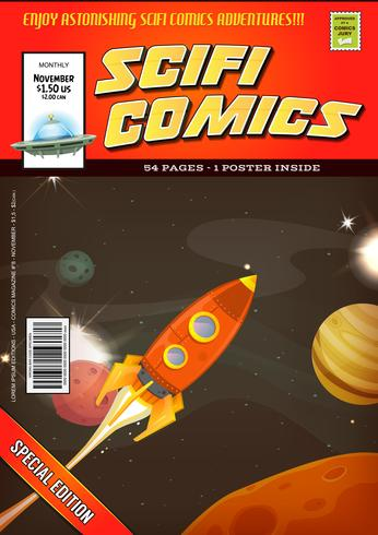 Comic-Scifi-Buchcover-Vorlage vektor