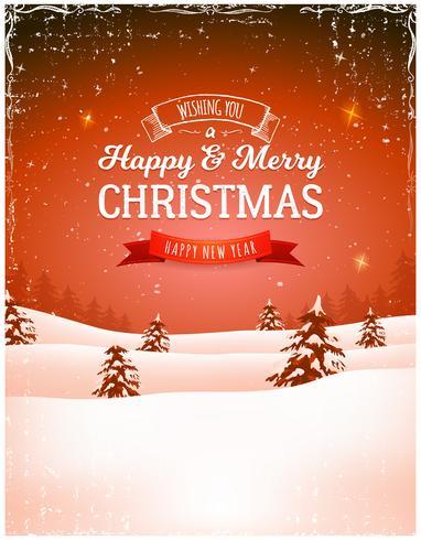 Vintage Christmas Landscape Background vector