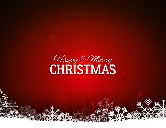 Fundo vermelho feliz Natal com flocos de neve