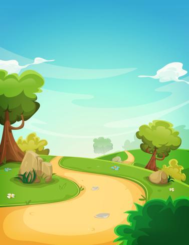 Fundo de paisagem de primavera com caminho vetor