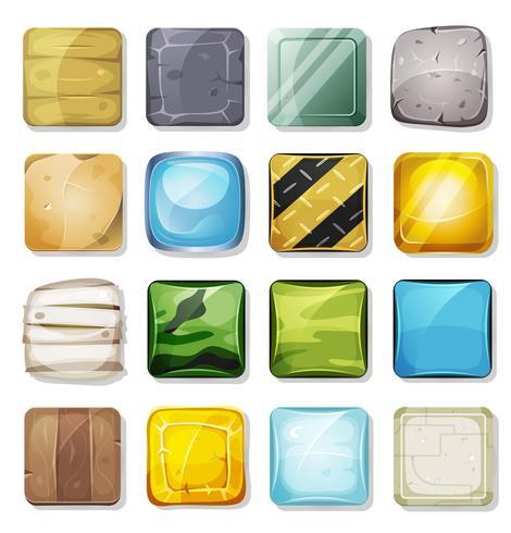 Icônes et boutons définis pour l'application mobile et l'interface utilisateur du jeu