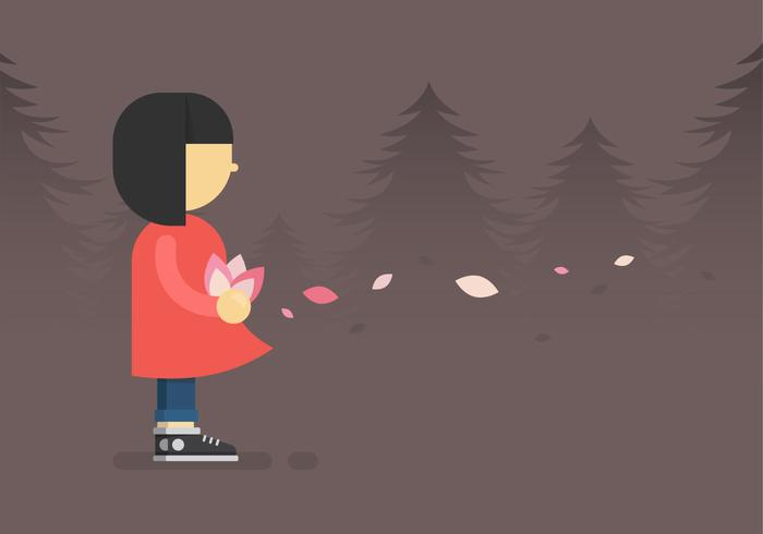 Girl With Flower in Minimalist Style