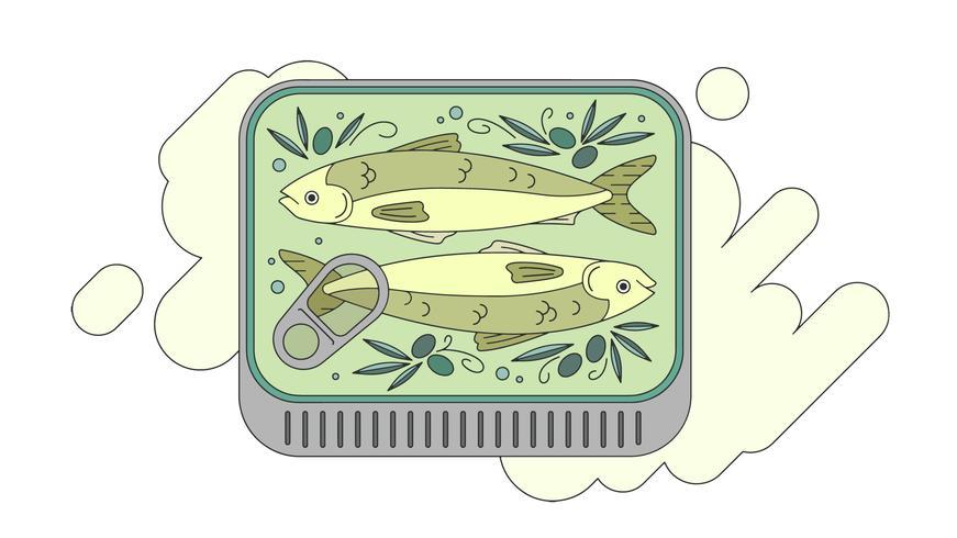 Sardines En Vecteur D'Olive