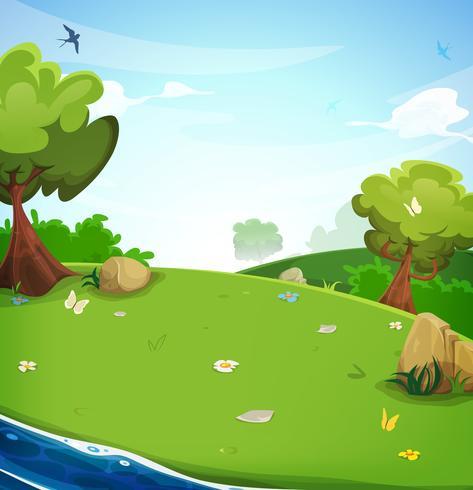 Fondo de paisaje de primavera con el río
