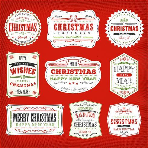 Vintage jul ramar, banderoller och märken
