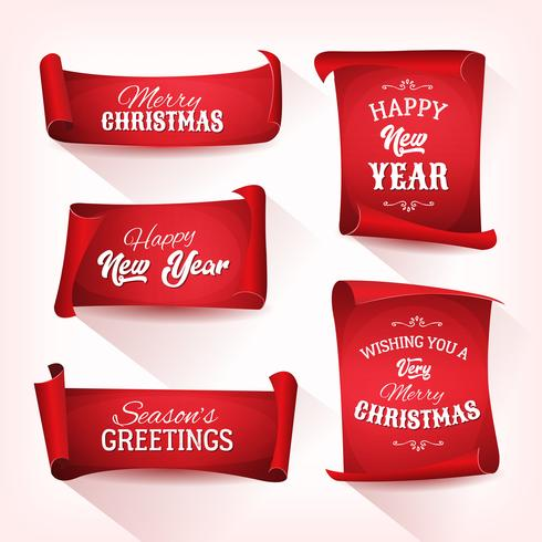 Collection of Christmas Parchment Scroll vector