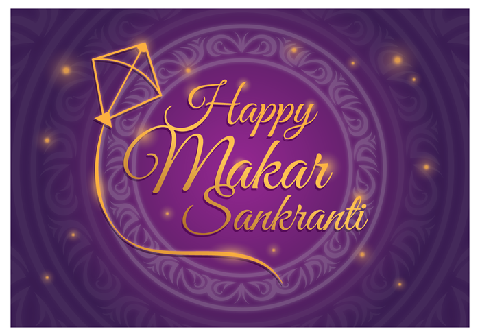Glad Makar Sankranti Med Lila Bakgrund