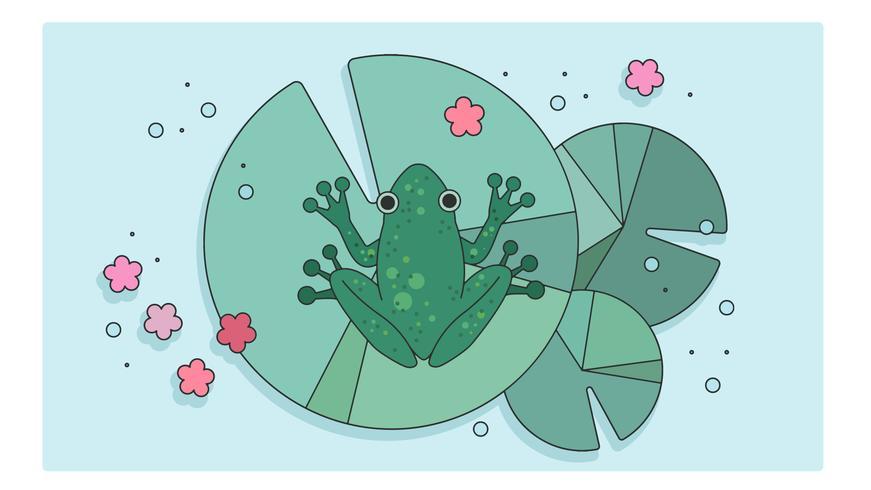 Vecteur de grenouille de nénuphar