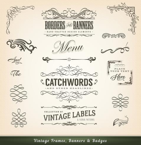 Cadres Calligraphiques Vintage Et Bannières