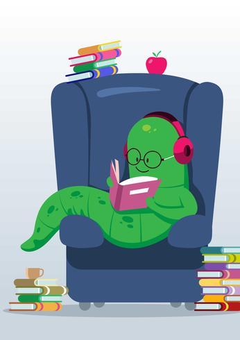 Bookworm Reading A Book vector