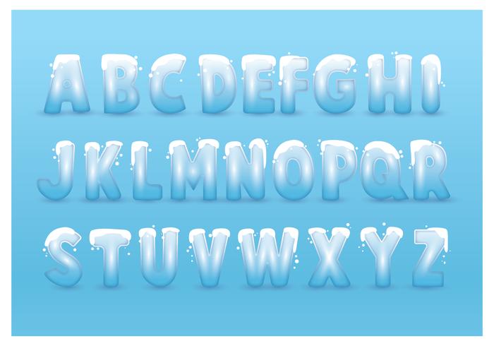 Alfabetos nevado gelados